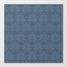 Vintage teal blue elegant floral damask Canvas Print