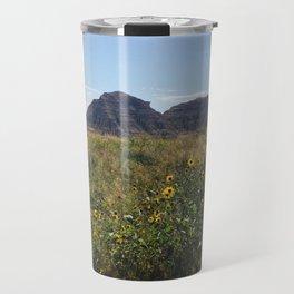 Wildflowers Before Mount Rainer Travel Mug