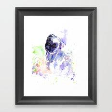 Purple Pug Puppy Framed Art Print