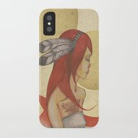 redhead iPhone & iPod Cases featuring Redhead Indian by Oscar Civit