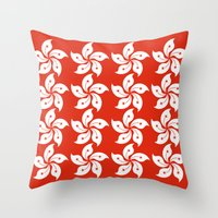 hong kong Throw Pillows featuring Hong Kong  by mailboxdisco
