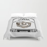 the legend of zelda Duvet Covers featuring Zelda legend - Kokiri shield by Art & Be