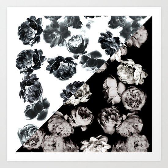 Black & White Floral Pattern Art Print