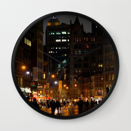 Rainy Night In Union Square Wall Clock