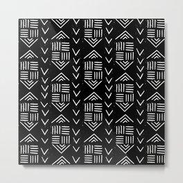 mudcloth 6 minimal textured black and white pattern home decor minimalist Metal Print
