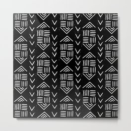mudcloth 6 minimal textured black and white pattern home decor minimalist Metal Print