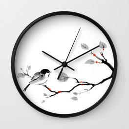 Bird on tree black and white painting Wall Clock