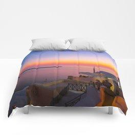 Sunset in Oia,Santorini Comforters