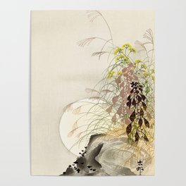 Full Moon behind grass - Japanese vintage woodblock print Poster