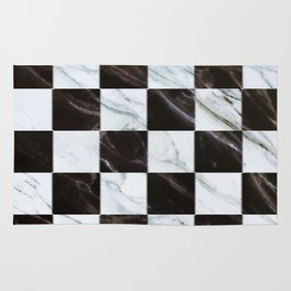Zig zag checkered pattern with marbling Rug