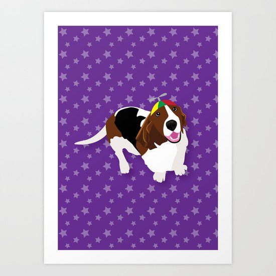 Bassets in Hats - Take Off Art Print