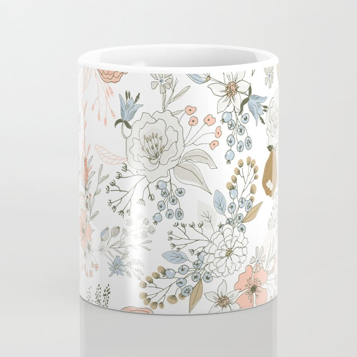 Abstract modern coral white pastel rustic floral Coffee Mug
