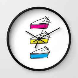3 Pies - CMYK/White Wall Clock