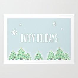 Happy Holiday Trees Art Print