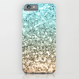 Ombre Mermaid Sparkly Glitters Colorful Blue Gold Cute Girly iPhone Case
