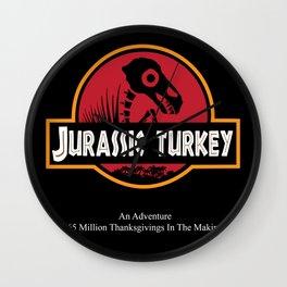 Thanksgiving-themed Jurassic Park (Turkey) Movie Poster Wall Clock