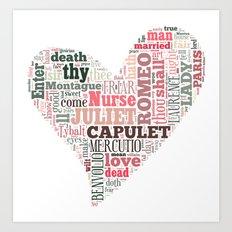 Shakespeare's Romeo and Juliet Heart Art Print
