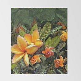 Hawaiian Plumeria at First Light Throw Blanket