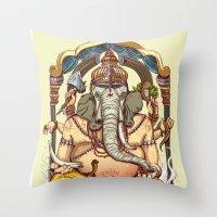 ganesha Throw Pillows featuring Ganesha by Pirates of Brooklyn