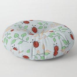 Lady Bug Leaf Pattern Art Floor Pillow