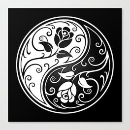 Black and White Yin Yang Roses Canvas Print