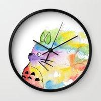 rainbow Wall Clocks featuring My Rainbow Totoro by scoobtoobins