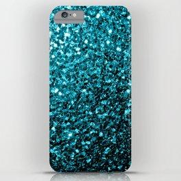 Beautiful Aqua blue glitter sparkles iPhone Case