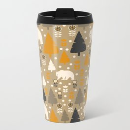 Bears in a winter forest Metal Travel Mug