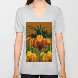 CARAMEL COLOR YELLOW CROWN IMPERIAL FLOWERS Unisex V-Neck