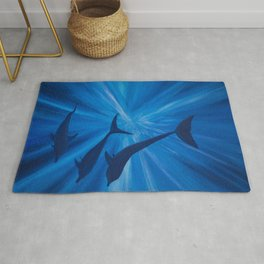 Dolphins in deep Rug