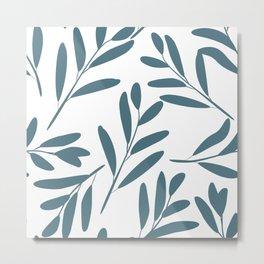 Prints of Leaves, Teal and White, Home Prints Metal Print