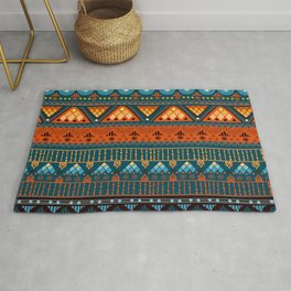 Orange & Blue Boho Pattern Rug
