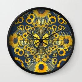 YELLOW MONARCH BUTTERFLY & GREY MODERN FLORAL ART Wall Clock