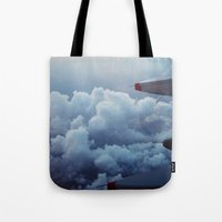 airplane Tote Bags featuring airplane by venturesomesouls