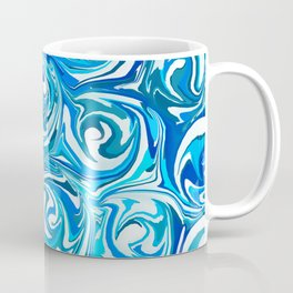 Aqua Blue Swirling Water Abstract Coffee Mug
