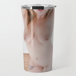 2772-MS Sensual Blond Nude Standing in High Key Studio Light Travel Mug