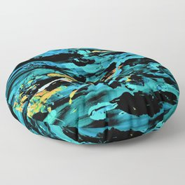 Clouds over Turbulent Waters - Abstract with Rice Paper Floor Pillow