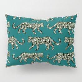 Kitty Parade - Olive on Dark Teal Pillow Sham