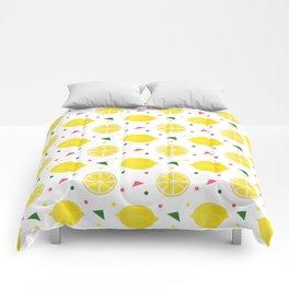 Sunshine yellow watercolor tropical lemon triangles dots pattern Comforters