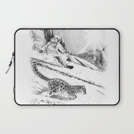Snowboarder and snow leopard down the slope Laptop Sleeve