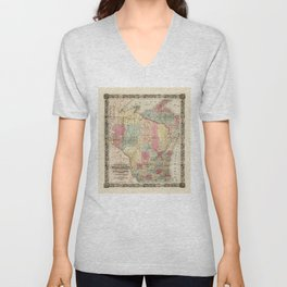 Colton's Township Map of Wisconsin (1851) Unisex V-Neck