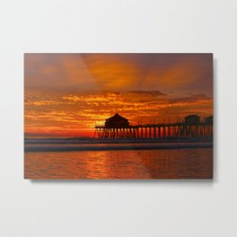 Huntington Beach Sunset   1/8/14  Metal Print