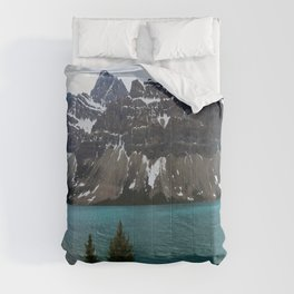 Bow Lake With Crowfoot Mountains Comforters