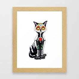 Sugar Skull Kitty Cat Framed Art Print