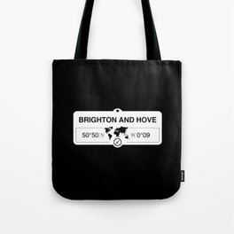 Brighton and Hove England Map GPS Coordinates Tote Bag