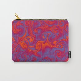 SIREN deep coral and periwinkle abstract flames Carry-All Pouch