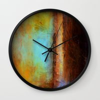 swimming Wall Clocks featuring Swimming by Liz Moran