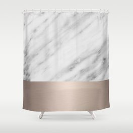 Carrara Italian Marble Holiday White Gold Edition Shower Curtain