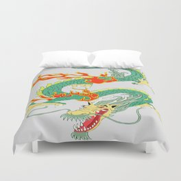 Green Chinese Dragon Duvet Cover