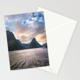 Epic Sunset at Milford Sound Stationery Cards